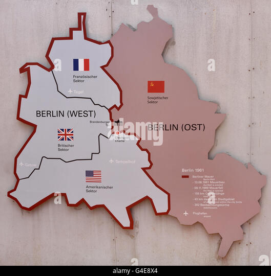 East West Germany Berlin Map Stock Photos East West Germany - Berlin map in germany
