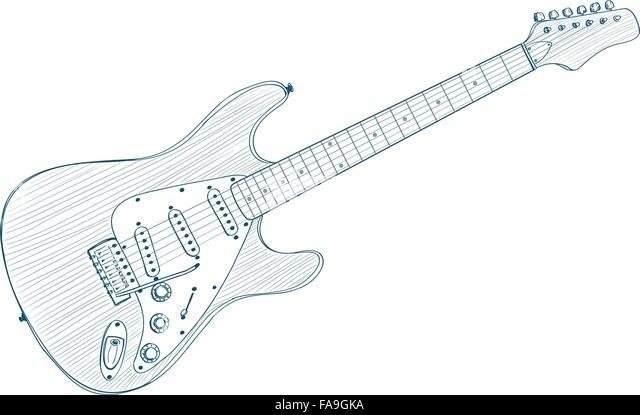 Line Art Guitar : Line art guitar stock photos