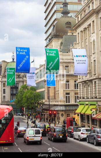 London Everyone Welcome banners to gree tourists in Lower Regent Steet in the West End, London, UK - Stock Image
