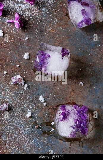 Ice cubes with lilac flowers, white sugar and sugared lilac flowers over old rusty iron background. Top view - Stock Image