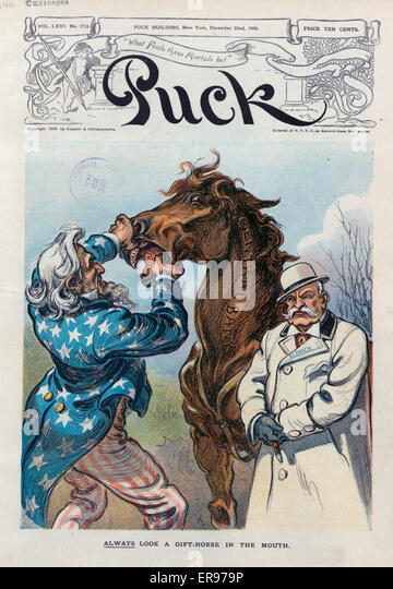 Gift horse stock photos gift horse stock images alamy always look a gift horse in the mouth illustration shows nelson w aldrich negle Image collections