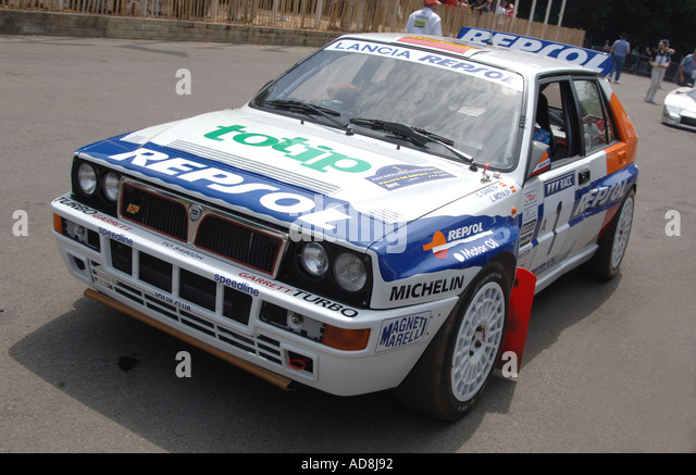 lancia delta hf integrale at goodwood festival of speed stock image