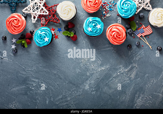 Cupcakes for the Fourth of July - Stock Image