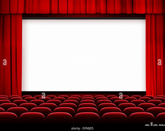 Awesome Cinema Screen With Red Curtains And Seats   Stock Image