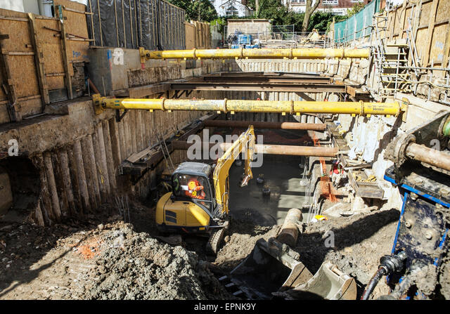 Property Redevelopment Building Site: Underground Excavation, Basement  Foundation Work, Hydraulic Corner Bracing