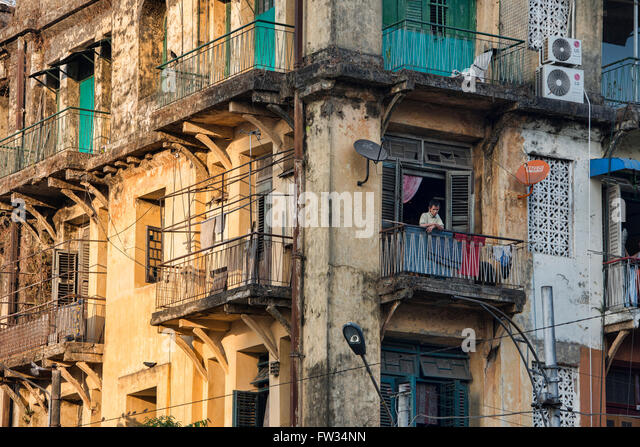 Crumbling Old Colonial Apartments In Yangon, Myanmar   Stock Image