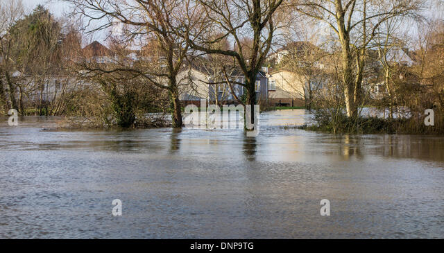 Iford Bridge Home Park Christchurch Affected By Rising Flood Levels Of The River Stour