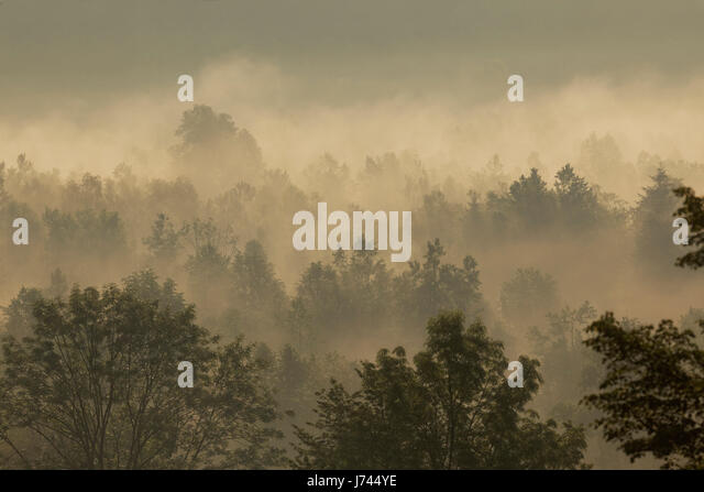 Sunrise with morning mist in mountains of Croatia - Stock Image