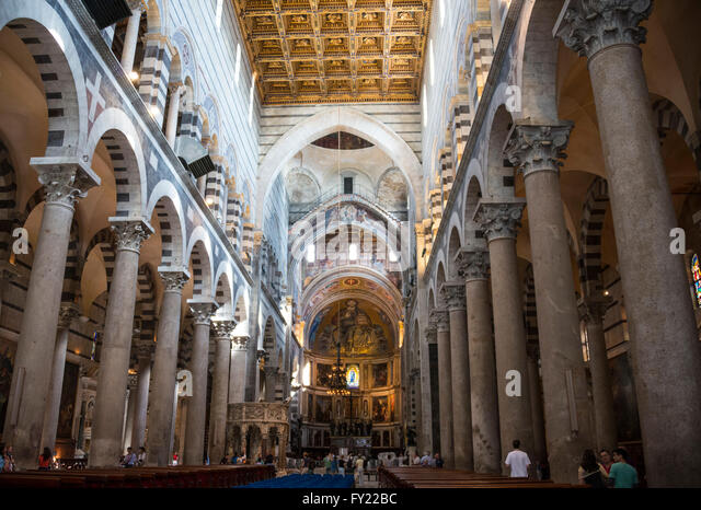 Italy tuscany pisa cathedral interior stock photos italy for Coffered cathedral ceiling