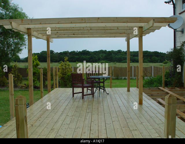 Pergola patio stock photos pergola patio stock images for Tanalised timber decking
