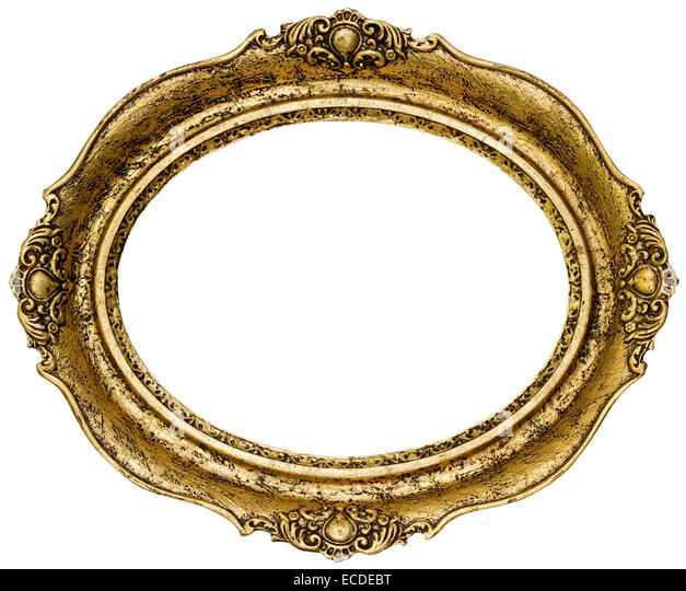 golden oval picture frame cutout stock image