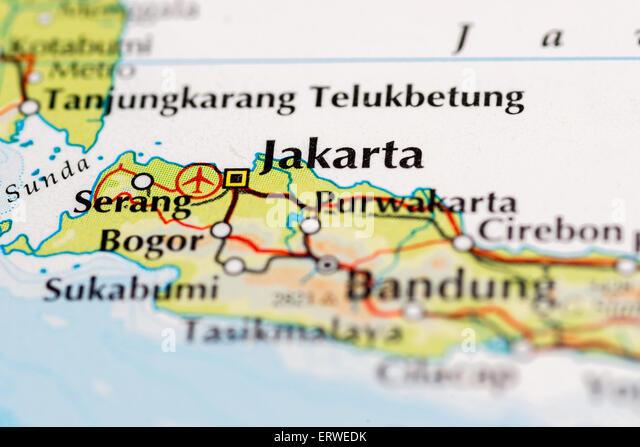 Jakarta map stock photos jakarta map stock images alamy close up of map of indonesia and jakarta stock image gumiabroncs Images