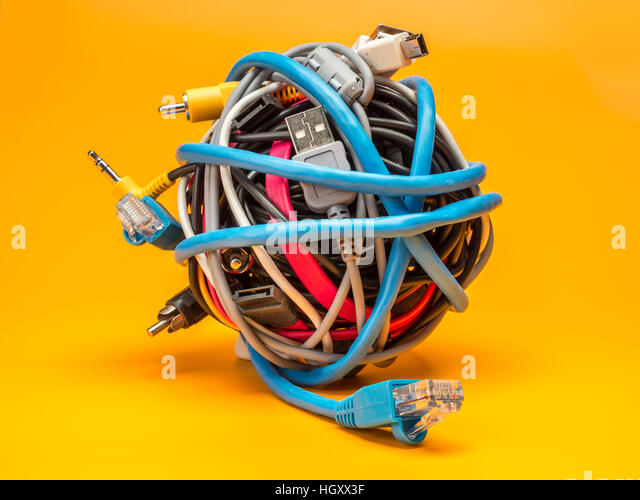 Computer Cable Rolls : Tangled wires stock photos images