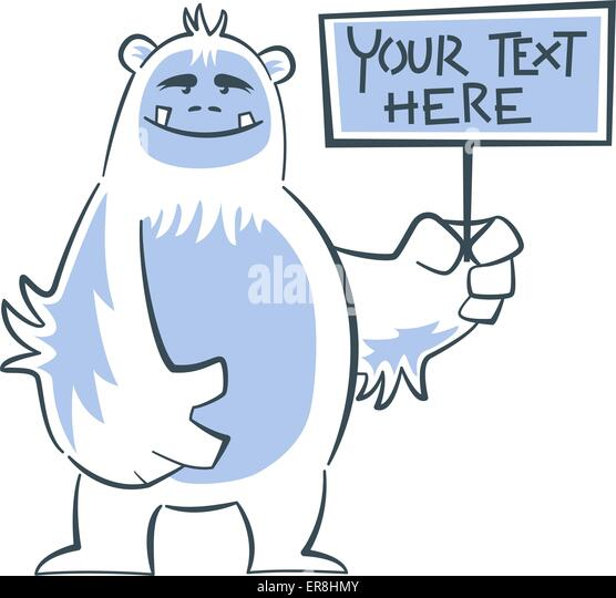 Hairy Cute Yeti Holding Sign And Smiling
