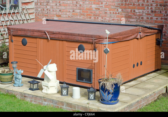 Private Hot Tub In A Back Garden.   Stock Image