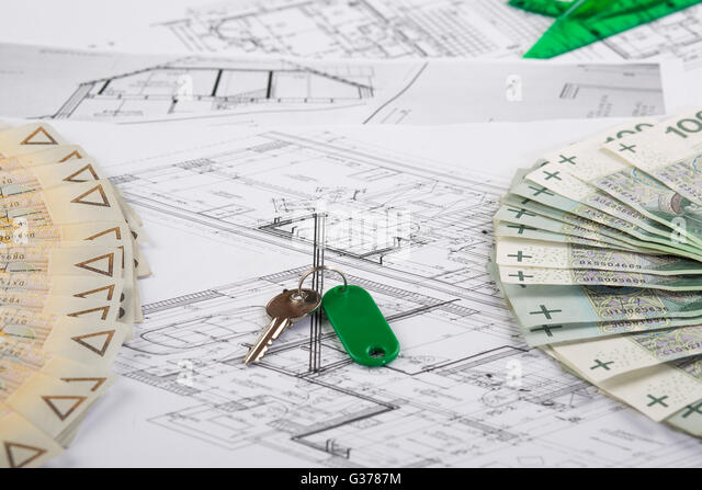 Building Plan Calculator Ruler Pencil Stock Photos