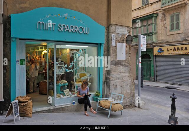 Malta valetta republic street stock photos malta valetta for Boutique hotel malte