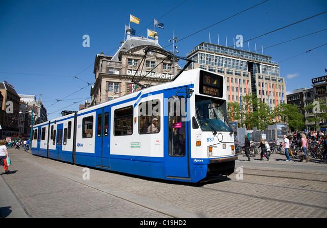 Tram amsterdam holland transport stock photos tram for Dam in amsterdam
