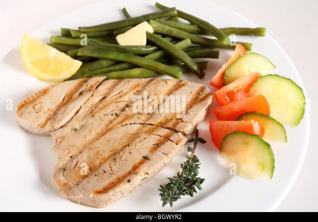 Tuna Steak Green Beans Stock Photos & Tuna Steak Green ...