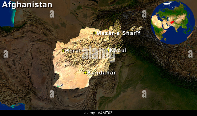 Afghanistan country map stock photos afghanistan country map stock highlighted satellite image of afghanistan with herat kabul kandahar and mazar e sharif highlight gumiabroncs Image collections