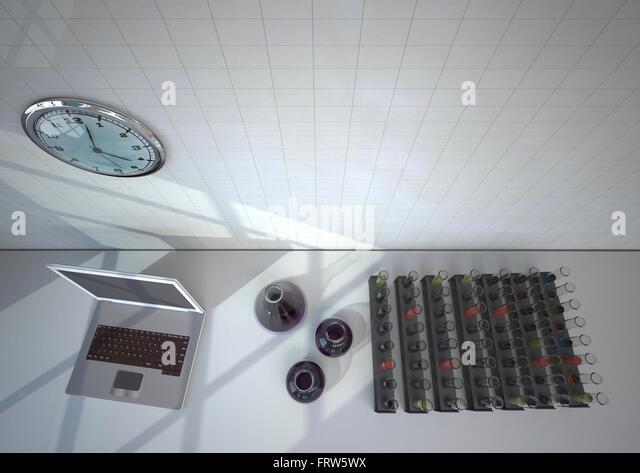 Chemistry Lab Test Tubes Clock Stock Photos Chemistry Lab Test - Ceiling lamp made by chemistry test tubes