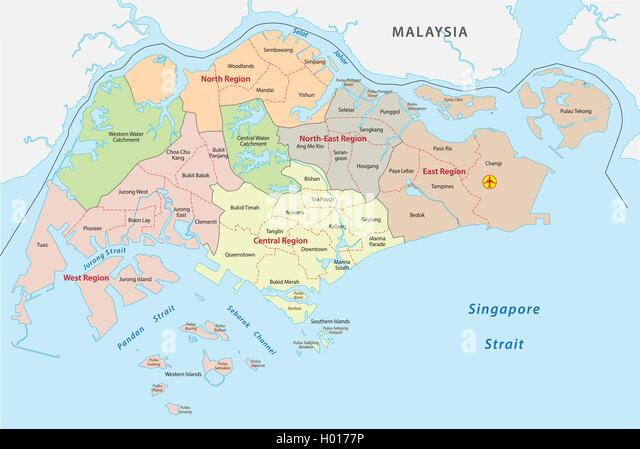 Map of singapore stock photos map of singapore stock images alamy administrative divisions map of the republic of singapore publicscrutiny Images