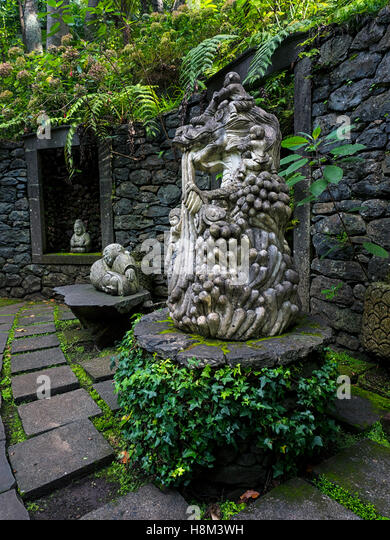Stone Statues And Ferns In The Monte Palace Tropical Garden, Funchal,  Madeira, Portugal