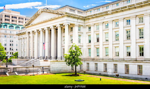 The Treasury Building in Washington D.C. - Stock Image