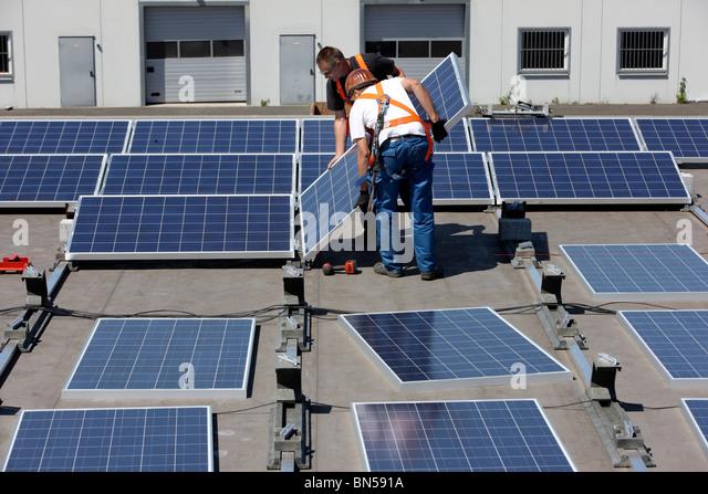 Flat Roof Warehouse : Solar panels roof warehouse stock photos