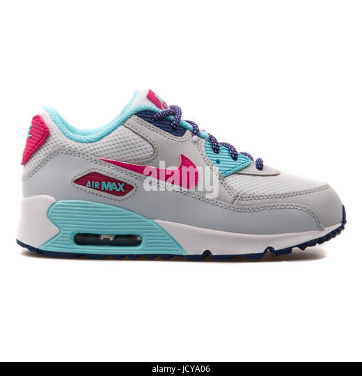 competitive price 6ff54 033ff Nike Air Max 90 Mesh (PS) White, Grey, Pink and Turquoise Kids