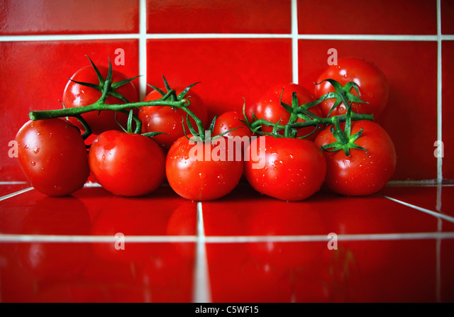 fresh tomatoes on red tiles in the kitchen stock image