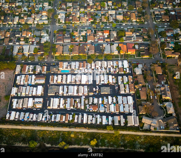 Aerial View Mobile Home Residential Park Oregon Avenue Brook Street Commerce Los