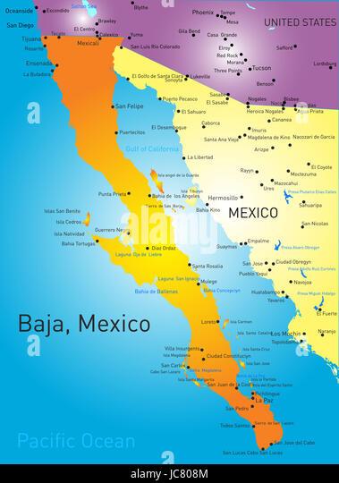 Baja California Vector Color Map Stock Image