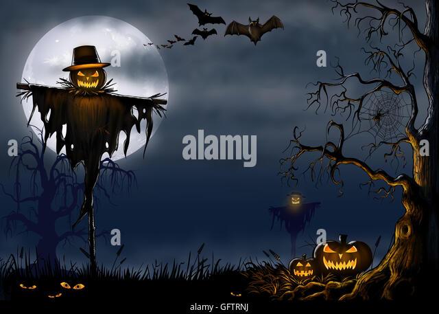 Creepy Halloween Scene Scarecrow Pumpkins Stock Photos & Creepy ...