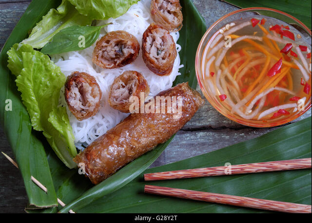 Vietnamese food, spring roll or cha gio, roast meat , a delicious ...