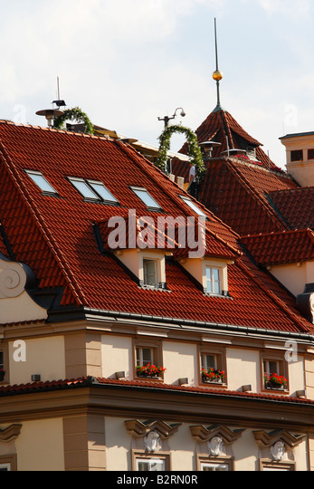 Red tile roof stock photos red tile roof stock images for Terrace u prince prague