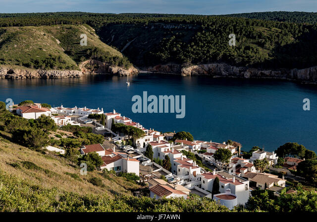 L'Escala and bay view from top of hill - Stock Image