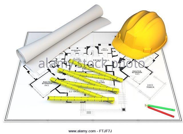 3d Construction Concept Blueprints Pencils And Hard Hat