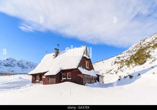 wooden hut near mountain - photo #46