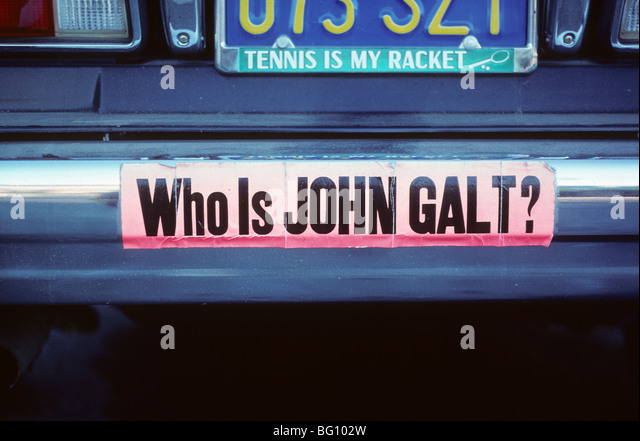 Bumper sticker john galt atlas shrugged ayn rand stock image