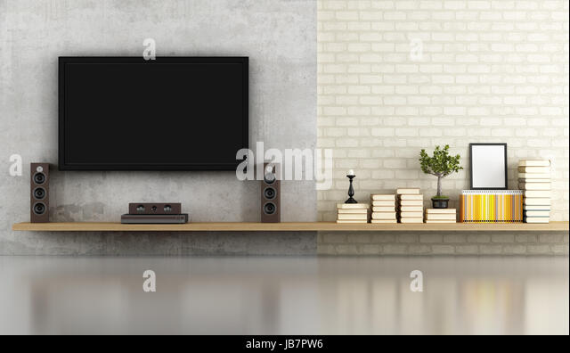 Living Room Without Furniture With Shelf ,tv And Concrete Panel   Rendering    Stock Image