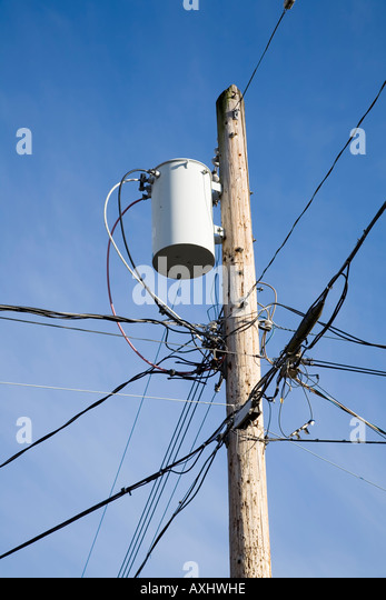 Pole mounted electricity transformer with wires supplying domestic neighbourhood Chemainus Canada - Stock Image : pole transformer wiring - yogabreezes.com