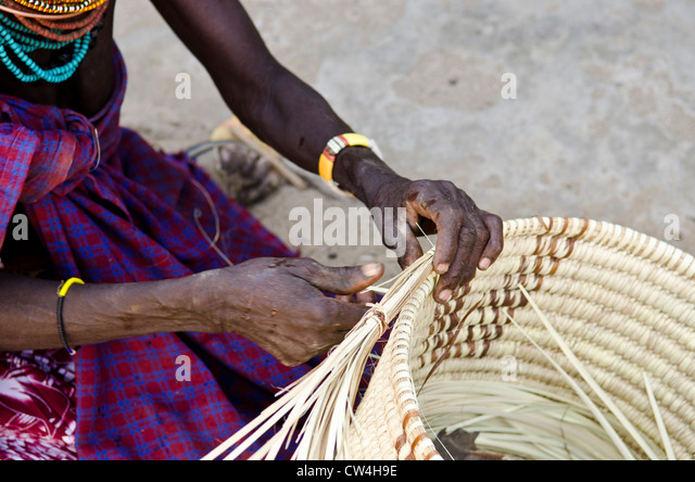 Basket Weaving Tribes : Turkana tribe stock photos images