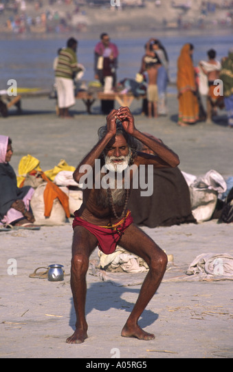 A Sadhu Practicing Yoga On The Banks Of Ganges Khumb Mela Festival 2001