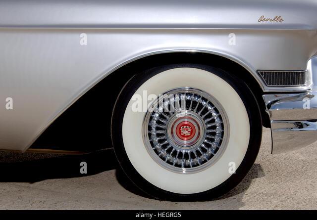 cadillac eldorado seville american luxury car wheel with white wall tyre stock image