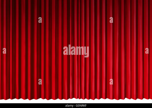Curtains Object As Red Velvet Drapes Representing Theatrical Entertainment Stage Isolated On A White Background