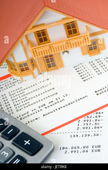 Model House On Advance Bank Statement Modellhaus Auf Darlehenskonto Auszug Stock Image