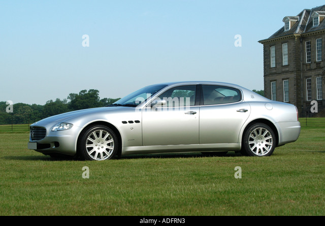 Silver Maserati Quattroporte Luxury Saloon Car 2006   Stock Image