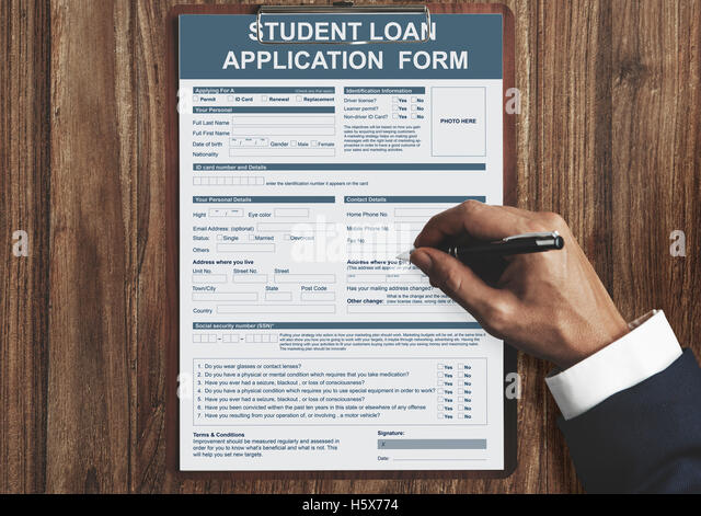 Student Loan Application Form Concept Stock Photos & Student Loan