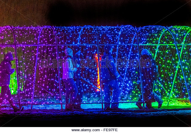 Christmas Lights Tunnel Stock Photos Christmas Lights